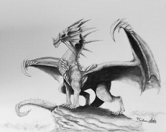"Original realistic dragon drawing in graphite pencil on bristol smooth paper 11"" x 14"""