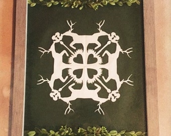 Deer and Squirrel Paper Cutting- Mounted and Framed