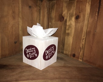 This wood tissue box cover is the perfect gift for that country loving person, who has everything.