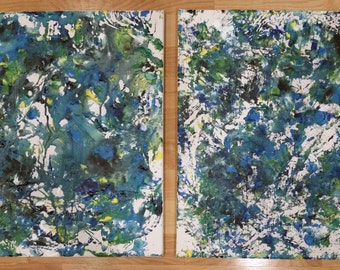 Two Marble Painted Canvases