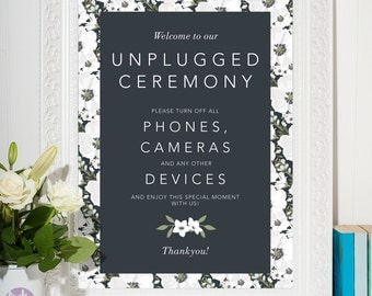 Unplugged Ceremony printable sign | Wedding Signs | No phones cameras or devices