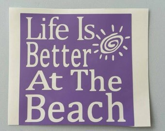 LiFE Is BETTER At The BEACH Vinyl Decal .. Free Shipping .. Yeti Car Window Sticker Laptop Wine Glass Beer Mug Frame Sports Bottle Organizer