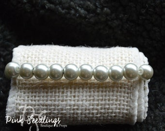 Small Pearl, Ivory & Gold/Clear Tiny Bracelet