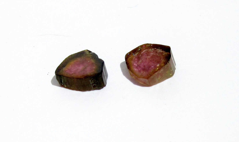 Hot Pink Watermelon Tourmaline Slice Pair Lot Set 4 44 Ct