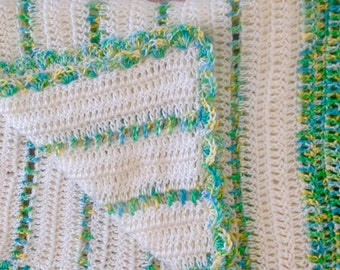 Crochet Baby blanket boy or girl spring green