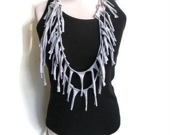 Festival Scarf, Cotton Scarf.Burning Man, Fringe Scarf, Necklace Scarf, Infinity Scarf Noodle Scarf Summer Scarf Tshirt Grey Jersey