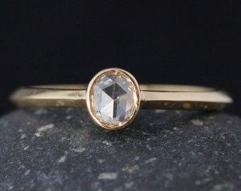 Rose Cut Diamond Ring - Oval Cut - Minimalist Rings- 14kt Gold