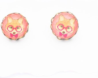 12 mm cute Hipster Fox Stud Earrings