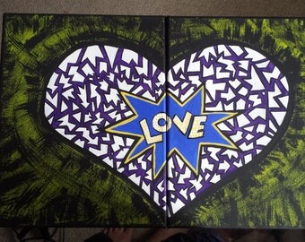 Piecey Heart Painting