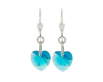 SWAROVSKI Mini Heart Sterling Silver Earrings in Blue Zircon