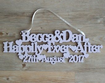 Personalised Happily Ever After hanging sign