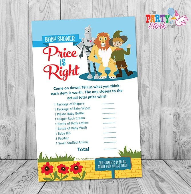 wizard of oz baby shower games price is right game