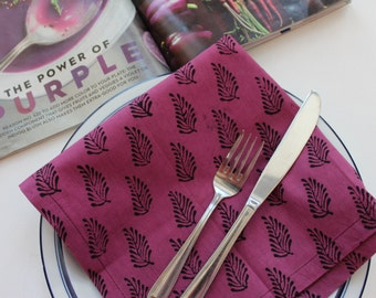 purple cotton dinner napkins - block print napkins set of 4 handmade cloth napkins - rustic eco friendly natural hostess gift unique summer