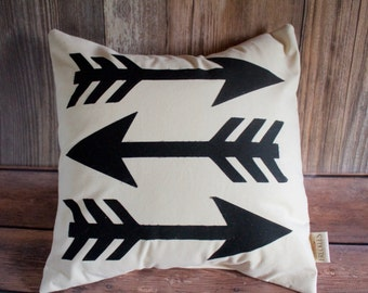 Arrow Pillow. Christmas Gift. Man Cave Pillow. Off White Canvas Fabric. Housewarming Gift. Wedding Gift. Kid Room Decor.  Item #16