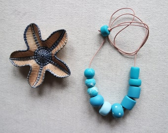 Handmade Polymer Clay and Leather Necklace Geometric Polka Dot and Marble Blue