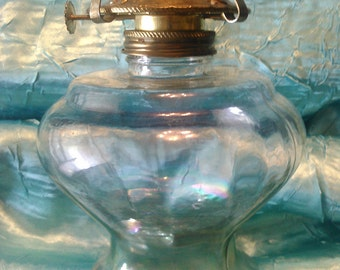 Vintage Clear Glass Oil Kerosene Lamp Shabby Chic