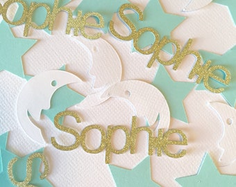 Personalized Confetti. Name confetti. Party confetti. Custom confetti. Mint and gold confetti. Stars and moons confetti.