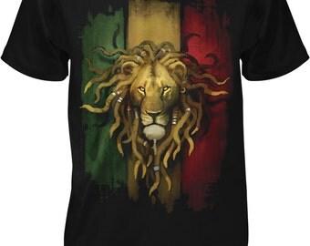 Rasta Lion, Rastafarian Lion, Lion Dreds Men's T-shirt, NOFO_00380