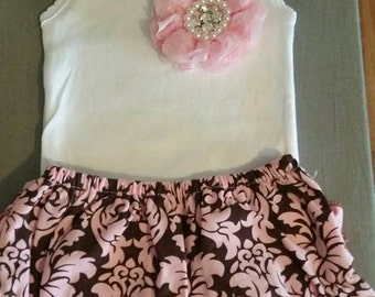 brown & pink ruffle set