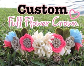 Custom Made Full Flower Crown / choose your favorites colors