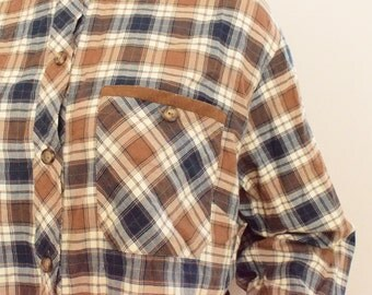 Grunge plaid shirt vintage 90s flannel shirt for women