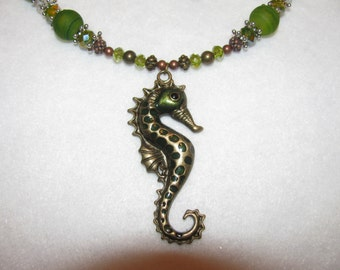 SALE!!  Seahorse  Necklace and Earring Set