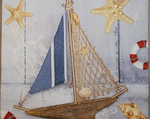 Children's napkins. Paper Napkins with tall ship for decoupage, Decor Collection, Set of napkins. Nr7