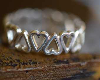 Vintage Infinity Heart Silver 925 Band, US Size 7.75, Used