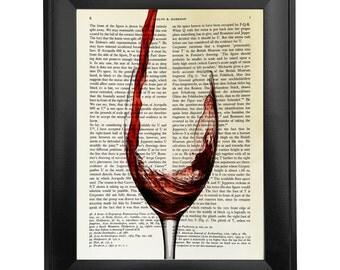 Wine, printed on Vintage Paper - 8x10.5 - dictionary art print, vintage book print