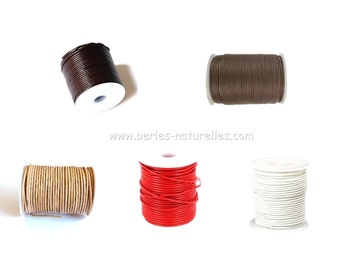 2mm - Leather Cord - Options - 2mm Leather Cord - Black, Dark Brown, Natural, Red, White - 1m/10m/50m(5x10m)