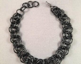 "7"" Black Chainmail 3-in-3 Bracelet"