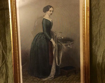 REDUCED-1851 Godey's Lady's Book Print