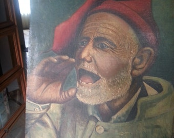 Antique portrait - Oil painting -  Italian Man Profile Oil on Canvas - signed F Milazzo 1930