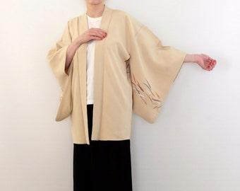 Yellow Vintage Silk Kimono - Rainbow Haori Kimono - Yellow Haori - Colorful Short Kimono - Yellow Japanese Kimono - Colorful Leaves Kimono