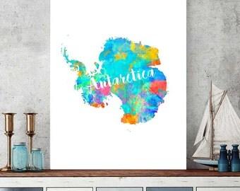 Antarctica Map Print, Antarctica Printable Map, Continent Map Gift, Wall Art Decor, Watercolor Map Print, Antarctica Instant Download
