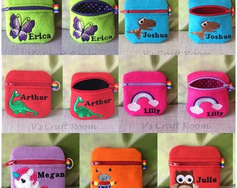 Personalised gift, coin purse, rainbow, dinosaur, robot, owl, butterfly, unicorn, gifts for children, purse, coins, wallet