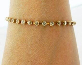 "Vintage Rhinestone Bangle Tennis Bracelet Gold Tone Delicate 7.5"""