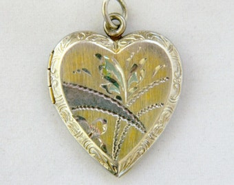 Vintage Sterling Silver Heart Locket Pendant Valentine's Day Sweetheart Girlfriend Gift 1""