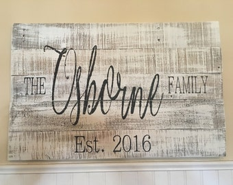 Family name on wood/reclaimed wood sign/wedding gift/last name wood sign