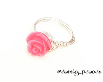 Pink Rose Ring size 7
