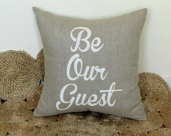Be Our Guest Appliqued Pillow Cover for Anniversary, Wedding, Engagement, Showering Love Gift for Couple-Personalized Pillow