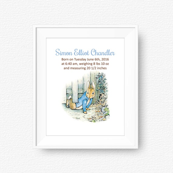 Peter Rabbit Birth Announcement Nursery Art Beatrix Potter