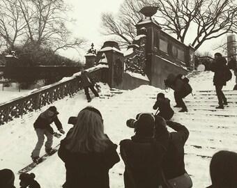 Snowboarding, Central Park.