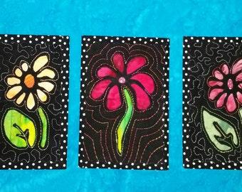 Set of 3 Reverse Applique Postcards 4X6