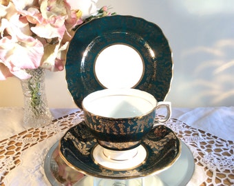 Colclough Green and all over Gilt Harlequin China Cup Saucer and Sideplate Trio