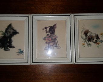 Vintage Set of Three Dog Pictures