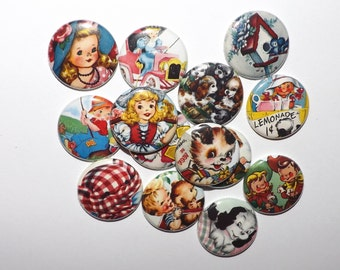 """Retro Children and Animals  1""""  Buttons.(set of 20)"""
