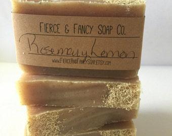 Rosemary & Lemon Soap | Homemade Soap | Cold Process Soap | Yarrow Flower | Shredded Loofa Soap