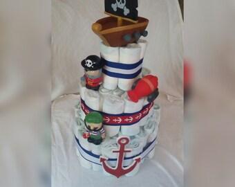 nautical pirate theme diaper cake boys diaper cake.