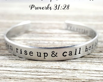 Mother Cuff- Proverbs 31-28- Blessed Bracelet- Mothers Day Gift